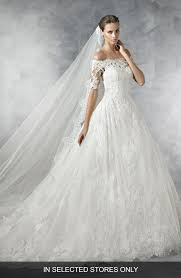 dress wedding pronovias pleasant the shoulder tulle lace ballgown nordstrom