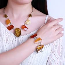 amber bead bracelet images Poland imported natural amber gold twist bead silver sterling jpg