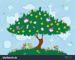 tree on which grow biscuits slices stock vector 172418168