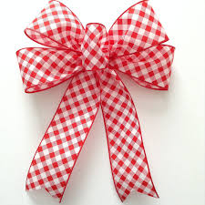 White Bows For Tree Gingham And White Bows Gingham Check Basketweave Decorative