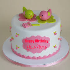 happy birthday cute birds toppings pink cake with name