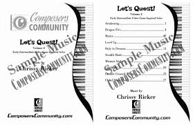let u0027s quest volume 2 songbook by chrissy ricker hardcopy