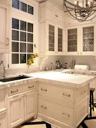 countertops classic all white kitchen white glass cabinet door