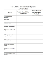 the checks and balances system a worksheet 6th 10th grade