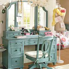 Bedroom Vanity Table Light Blue Stained Hardwood Dressing Table Combined Swivel Chair