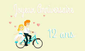 12 ans de mariage carte anniversaire mariage 12 ans maries velo