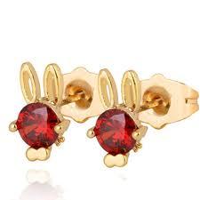 s baby earrings children s lovely animal earrings yellow gold filled rabbit