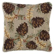 hooked wool pillows rustic throws accent pillows cabin decor