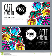 vector gift voucher template with gift box patches and stickers