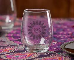 wine glass with initials henna inspired wine glasses personalized