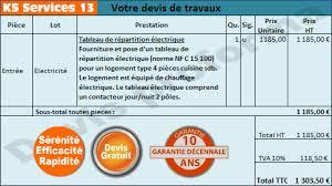 devis travaux cuisine ks services 13 prix remplacement de tableau électrique général