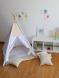yellow triangles kids teepee play tent with a padded floor play