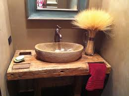 rock sink with wood slab for powder olivia pinterest wood