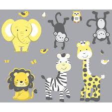 gray jungle nursery wall decals with zebra wall decals for yellow gray jungle nursery wall decals with zebra wall decals for nursery or baby room