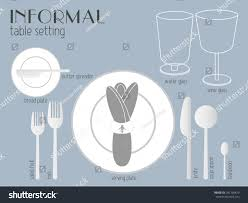 informal table setting white clear tableware eating stock vector