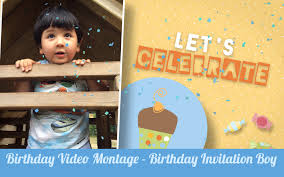 Birthday Invitation Card For Baby Boy Baby Video Montage Boy Birthday Video Invitation 1st Birthday