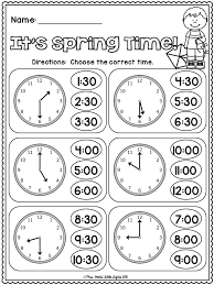 free it u0027s spring time telling time to the hour and half hour