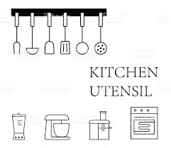 simple kitchen tools icon set vector illustration stock vector art