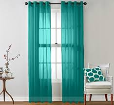 Sheer Teal Curtains Hlc Me 2 Sheer Window Curtain Grommet Panels