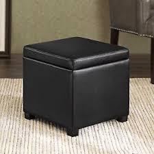 Cushion Ottoman Small Storage Ottoman Black Leather Square Cube Cushion Seat