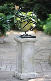 Outdoor And Garden Decor Rusted Armillary Sphere And Pedestal In Urns And Planters From The