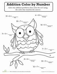 owl color by number worksheet education com