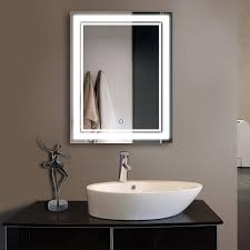 Illuminated Bathroom Mirrors 28 X 36 In Vertical Led Bathroom Silvered Mirror With