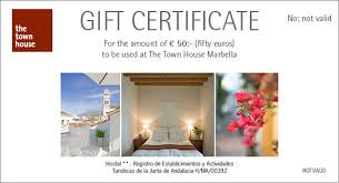 hotel gift certificates gift cards form the boutique hotel the town house in marbella