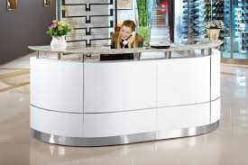 Salon Front Desk Furniture Office Small Hair Salon Modern White Half Round Salon Reception