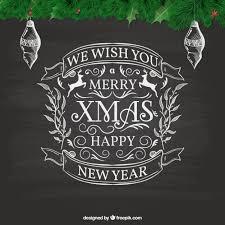 hand written christmas card on blackboard vector free download
