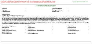 business development manager employment contract