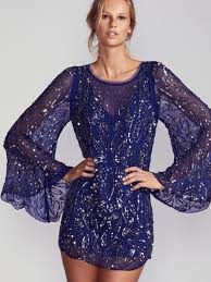free people sequin sparkle bow mini dress in blue lyst