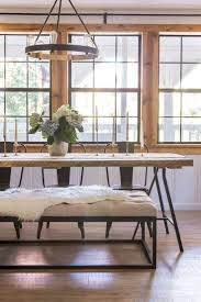 best 25 dining table with bench ideas on pinterest kitchen gorgeous wood and metal dining table with metal chairs and bench farm table hydrangea pine window