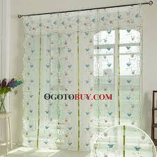 Sheer Embroidered Curtains Embroidered Blue Butterfly Sheer Curtain Linen Cotton Blend Fabric