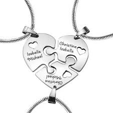 personalised necklaces personalised jewellery heart puzzle three personalised