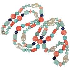 turquoise coloured necklace images Amazonite turquoise lapis lazuli pearl sterling silver long jpg