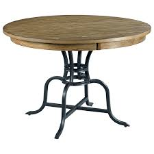 round dining table metal base 44 round solid wood dining table with rustic metal base by kincaid