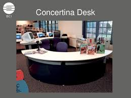 Desk Reference System by Concertina Desk System The Modern Library Circulation Reference Coun U2026