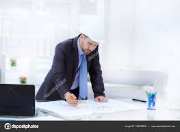 architect designing house for client u2014 stock photo tatsianama