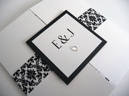gatefold wedding invitations black and white damask themed large gate folded wedding invitation