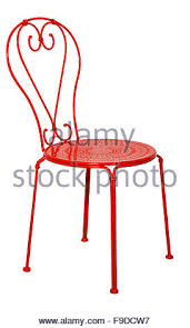 Red Metal Chair Modern Red Chair Stool Isolated On White Background View From