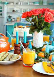 orange turquoise holiday brunch tablescape plus a delicious