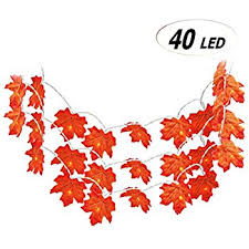 maple leaf garland with lights amazon com cordless battery operated 76 lighted maple leaf harvest