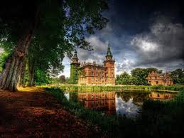 medieval beautiful castle pond clouds trees hdr wallpaper