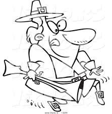 vector of a cartoon pilgrim tip toeing and carrying a blunderbuss