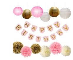 pink and gold party supplies pink and gold party supplies with happy birthday banner for birthday