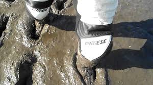 motocross boots 8 estuary mud and a river in white dainese leathers and white tech 8