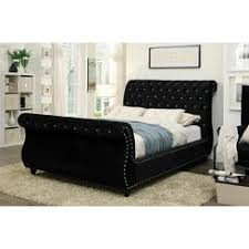 Black Leather Sleigh Bed Black Sleigh Bed