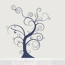 thin bare whimsical tree wall decal