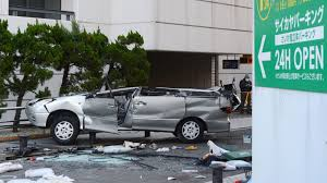 car drives off parking garage in yokosuka killing three and the wreckage of a car that drove off the fifth floor of a parking garage in